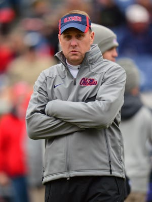 Mississippi coach Hugh Freeze before his team's game in the 2013 Music City Bowl against Georgia Tech.