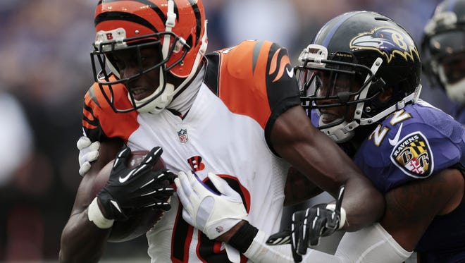 Bengals receiver A.J. Green runs toward the end zone with a touchdown reception in the fourth quarter in Baltimore.