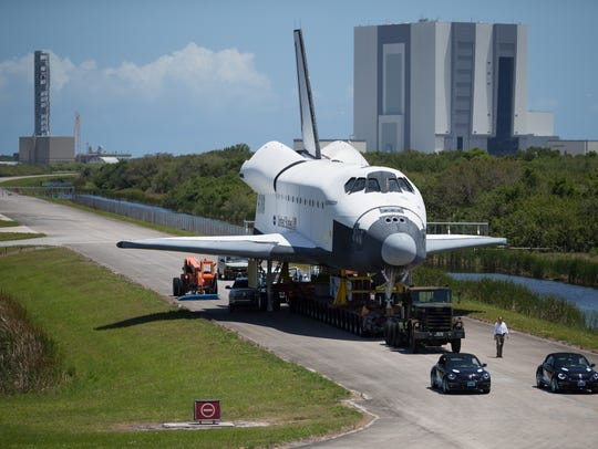 The space shuttle orbiter mockup Inspiration moved