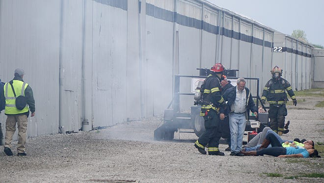 The Richland County Emergency Management Office had a full-scale emergency exercise Tuesday morning near Pioneer Career and Technology Center. The drill simulated a chemical leak from a rail car that injured five people.