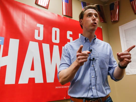 Josh Hawley, Republican candidate for U.S. Senate,