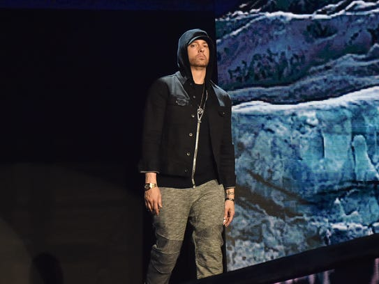 Eminem performs on stage during the MTV EMAs 2017 held at The SSE Arena, Wembley on November 12, 2017 in London, England. (Photo by Kevin Mazur/WireImage)