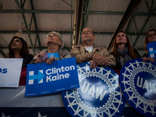 Rally goers listen to Vice Presidential Candidate Tim Kaine speak at a Get Out the Vote Event at a fire house in Taylor, MI, on Sunday Oct. 30, 2016.