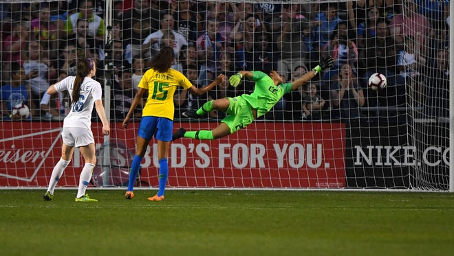 U.S. midfielder Rose Lavelle (16) scores a goal against Brazil in the first half during the Tournament of Nations Women's Soccer match at Toyota Park on Aug. 2.