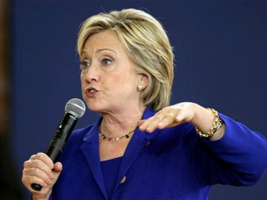 Democratic presidential candidate Hillary Rodham Clinton speaks during a community forum on healthcare, Tuesday, Sept. 22, 2015, at Moulton Elementary School in Des Moines, Iowa. Clinton broke her longstanding silence over the construction of the Keystone XL pipeline, telling voters at a campaign stop in Iowa on Tuesday that she opposes the project assailed by environmentalists.