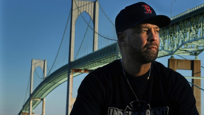 Mark Gonsalves at the base of the Pell Bridge. Gonsalves, who survived a jump off the bridge, advises anyone thinking of suicide to reach out to a professional.