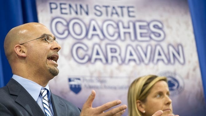 Penn State football coach James Franklin speaks to a crowd at Penn State York in May 2014 during the  Penn State Coaches Caravan.