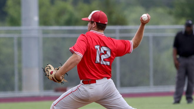 Holliday's Grant Gravitt pitches against Peaster in the Region I-3A quarterfinals Thursday, May 18, 2017, in Bowie.