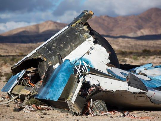 Wreckage lies near the site where a Virgin Galactic