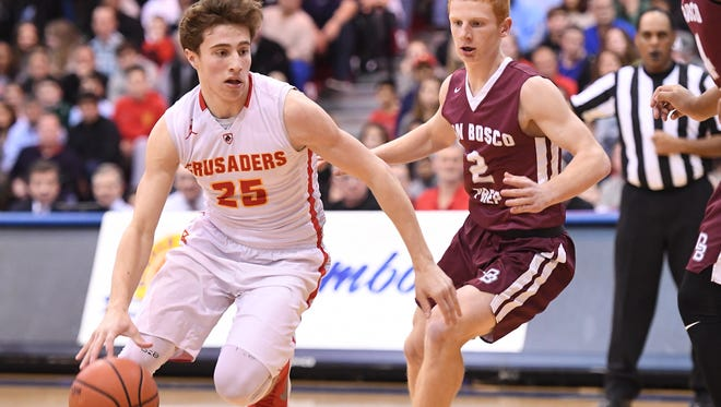 Don Bosco vs. Bergen Catholic in the Bergen Jamboree Basketball Final at the Rothman Center on Friday, February 23, 2018. BC #25 Doug Edert in the first quarter.