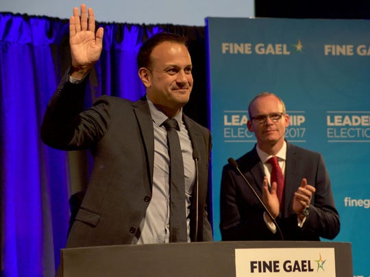 Leo Varadkar celebrates victory as he is elected to