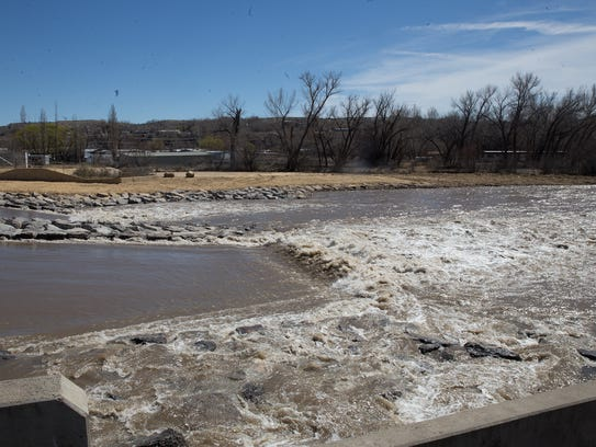 The redesigned Penny Lane Dam on the Animas River now