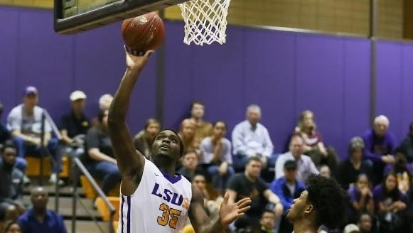LSUS forward Rakim Lubin goes up for two of his 16 points against Centenary Monday night at The Dock.
