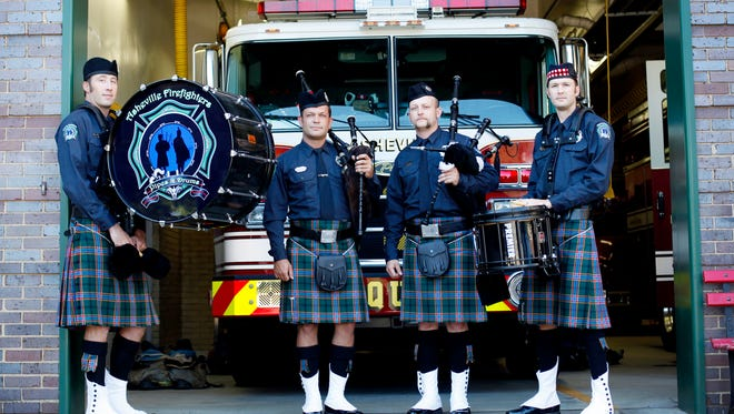 The Asheville Firefighters Pipes and Drums will play during the observation of 9-11, now a National Day of Remembrance, at 10:30 a.m. at the downtown fire station on Pack Square.