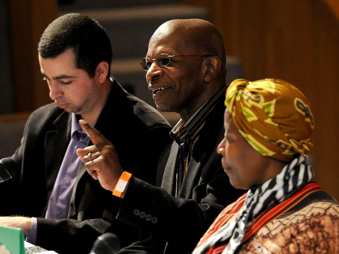 """Rev. Michael Miller participates in the keynote panel on the """"Perspective on Peace"""" during the 16th annual MLK Community Festival at the Christian Theological Seminary Saturday, January 18, 2014, in Indianapolis."""