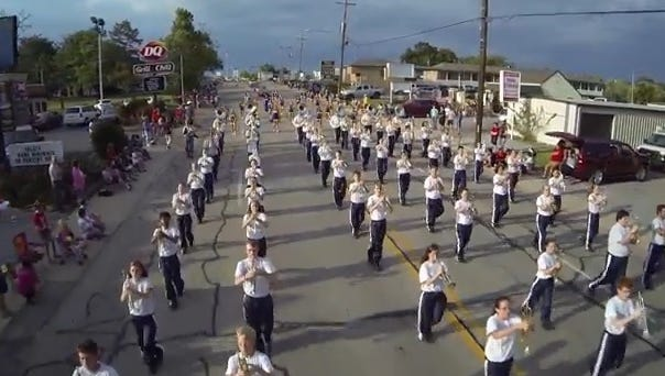 Pictured is a screen grab of the Mountain Home High School band from a drone video recorded by Ivan Johnasen of the Baxter County Fair Parade on Wednesday.
