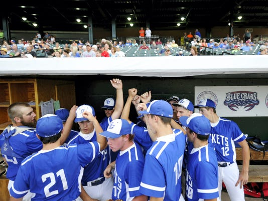 Spring Grove cheers before the start of the PIAA District 3 Class AAA baseball championship game at Santander Stadium in York on May 28. Donegal won, 11-5.