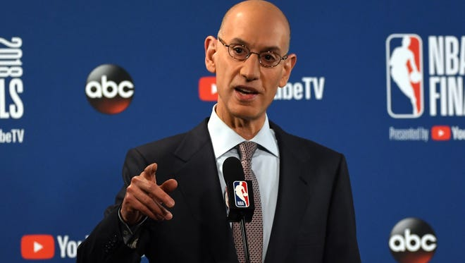 NBA commissioner Adam Silver speaks during a press conference before the game between the Golden State Warriors and the Cleveland Cavaliers in game one of the 2018 NBA Finals at Oracle Arena.