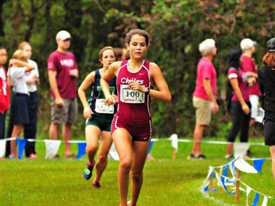 Chiles' Ana Wallace eyes the finish line during Saturday's Alligator Lake Invitational. She finished 26th in 20:59.