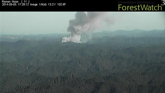 A fire camera image captured on the first day of The Yellow Point Fire near Cottage Grove, Oregon taken from an unmanned station on Roman Nose on Friday Sept. 5, 2014 gave firefighters a birds eye view immediately after the first reports of smoke and gave them an early opportunity to make decisions about how to go about fighting the fire.