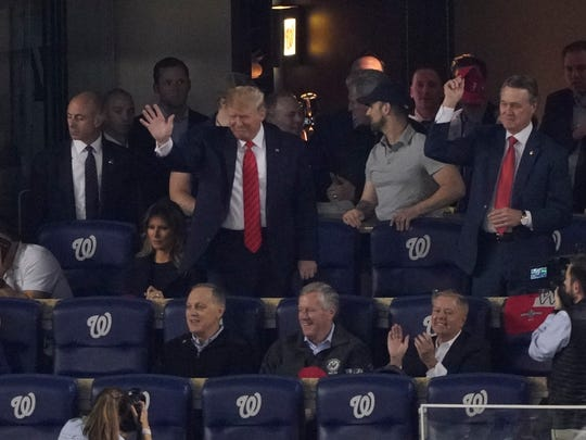 President Donald Trump is introduced during the third inning of Game 5 of the baseball World Series between the Houston Astros and the Washington Nationals Sunday, Oct. 27, 2019, in Washington. (AP Photo/Alex Brandon)