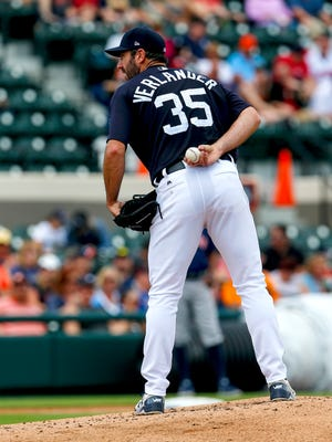 Justin Verlander prepares to throw a pitch in a spring game.
