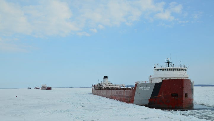 The Roger Blough works through ice in April of 2014