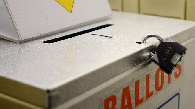 A locked ballot box at the Marion County Elections Office at Courthouse Square in downtown Salem on Tuesday, Nov. 4, 2014.