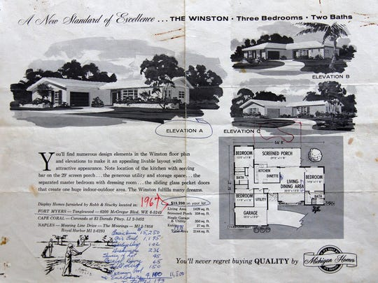 A 1960s Michigan Homes flier for the Winston, a three-bedroom, two-bath home starting in the low $15,000's.