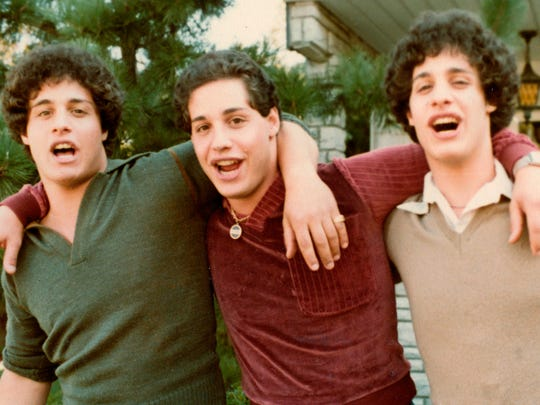 """Eddy Galland (from left), David Kellman and Bobby Shafran are three brothers who learned at age 19 that they had been separated at birth. The story of the three identical triplets is the subject of """"Three Identical Strangers."""""""