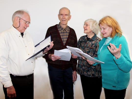 "From left, John Snyder (Chester Riley), Harrison Dann (Digger O'Dell), Beverly Dann (Riley's mother-in-law) and JoAnn Smith (Peg Riley) star in ""The Life of Riley,"" part of the Elmira Little Theatre show ""Mystery, Comedy and Romance in the Golden Age of Radio."""