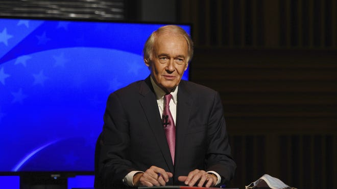 Democratic incumbent U.S. Sen. Edward Markey appears in a debate against Republican challenger Kevin O'Connor, Monday, Oct. 5, 2020, at the GBH Studios in Boston. Due to the coronavirus, Markey and O'Connor debated from separate rooms at the GBH Studios.