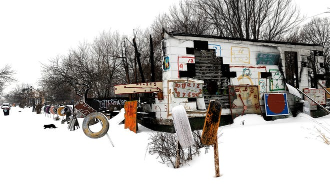 Tyree Guyton's Heidelberg Project art installation has been the target of eight arson fires, attracting worldwide media attention.