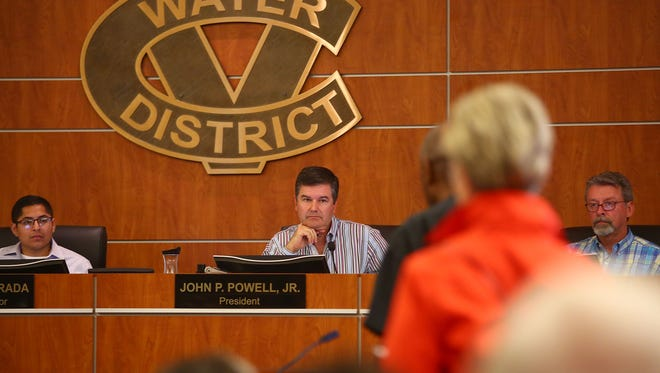 Coachella Valley Water District Board President John Powell Jr. listens to comments from the public at a meeting in June on raising water rates. The board this month approved increases that were smaller than initially proposed.