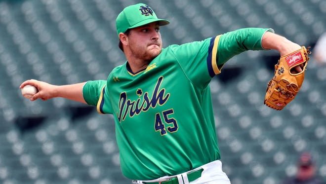 Notre Dame pitcher Brad Bass pitches in to Florida State during the Atlantic Coast Conference baseball tournament in Louisville, Ky., on May. 24, 2017.