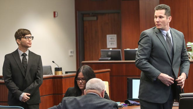 Wade Wheeler, right, and Scott Bahls stand during the opening statements of their trial in which they are charged with killing a woman while they were street racing in 2013.