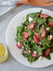 Roasted Rhubarb and Goat Cheese Salad combines tart