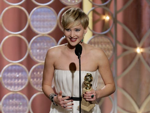 Jennifer Lawrence wins her second Globe in two years.