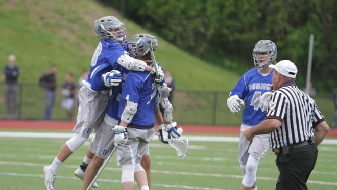 Bronxville celebrates after a goal from Brendon Krupa during the second quarter of a Section 1 boys lacrosse tournament Class C semifinal game between Briarcliff and Bronxville at Briarcliff High School on Saturday, May 21st, 2016. Bronxville won 5-3.