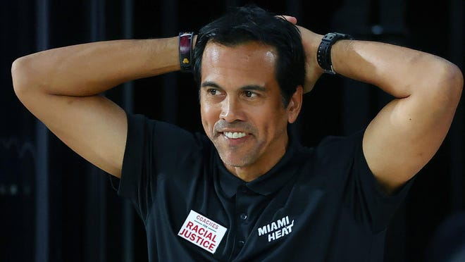 Miami Heat's Erik Spoelstra reacts to an official during the first half of an NBA basketball game against the Oklahoma City Thunder Wednesday, Aug. 12, 2020, in Lake Buena Vista, Fla.