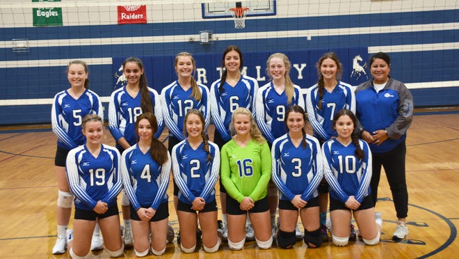 The Brimley varsity volleyball team includes (front row, from left) Kora Blake, Emma LeBlanc, Siersha Miller, Sadie McGuire, Brooke Carrick, Mary Jane Cameron, (back row, from left) Alexis Leapley, Lindsey Hill, Alana VanderMeer, Reece Blake-Pesloa, Paige Johnson, Carlie Keyser, and coach Beth Hill. Missing from the photo is Lillian Thomas.