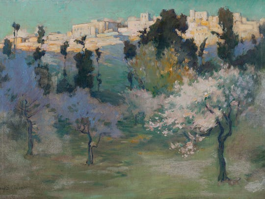 """""""Hilltop City,"""" Lucy S. Conant (American, 1867-1921) undated; oil on canvas"""