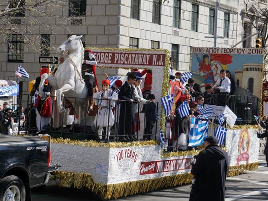 """The Community of St. George Greek Orthodox Church participated in the April 10 NYC Greek Independence Day Parade with its largest float and delegation.  St. George is commemorating its 100th anniversary with three major events during its """"Celebration Week"""" October 15 – 22. Celebration Week is the finale of the church's year-long 100th Anniversary activities."""