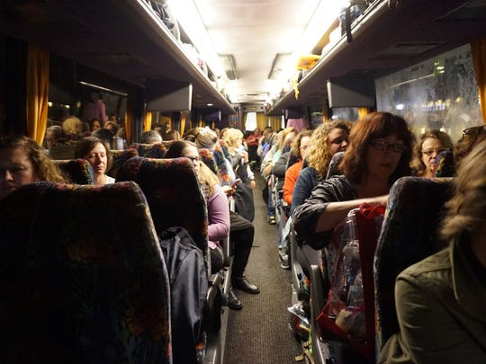 A coach bus filled with 54 women from in and around