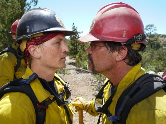 """Supe"" Eric Marsh (Josh Brolin) berates Brendan McDonough (Miles Teller) during training in Prescott National Forest in Columbia Pictures' ONLY THE BRAVE."