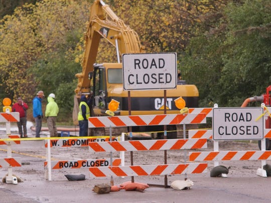 The road is closed as crews tackle the water main break.