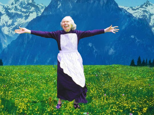 "Barbara Potter, 85, recreates the role of Maria as portrayed by Julie Andrews in ""The Sound of Music."" It's the January photo from a new calendar by the residents of Burcham Hills Retirement Community."