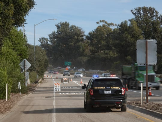 On Highway 101, offramps in the Montecito area remain