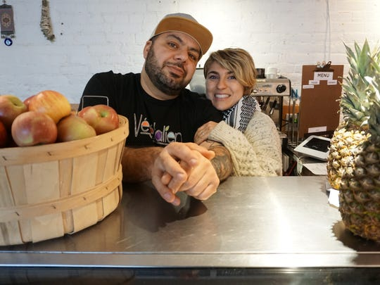 Ziatun's owners Kamel and Lena Jamal at  one of their other restaurants, Vegetalien in Beacon.