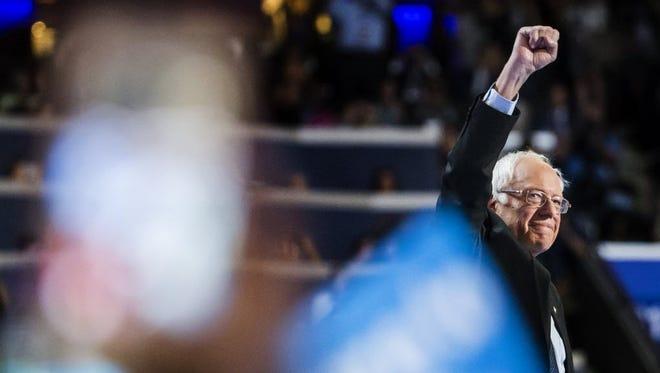 Jul 25, 2016; Philadelphia, PA, USA; U.S. senator Bernie Sanders takes the stage during the Democratic National Convention at Wells Fargo Arena.